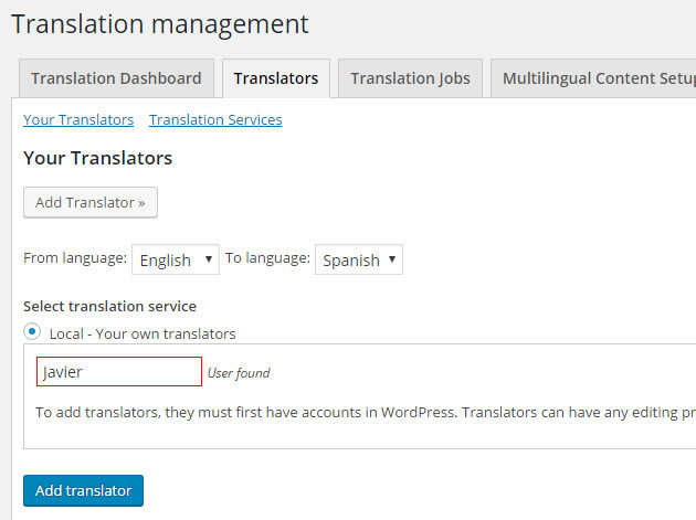 Add a translator to the site