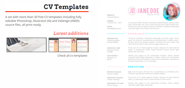 Huge Collection of PSD & Ai CV Print Templates