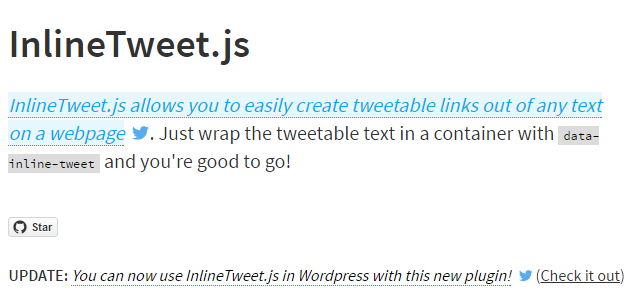 InlineTweet.js: Directly Link Text to Be Tweeted