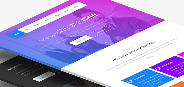 Nine: Modern One-page PSD Template
