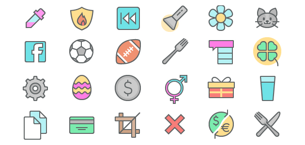 Playful Color Line Icon Set