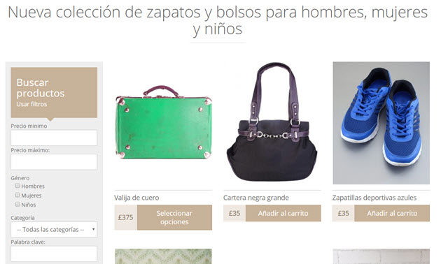Product catalog in Spanish