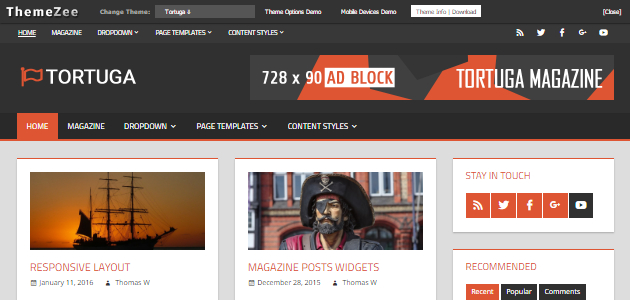 Tortuga: Clean & Organized Blogging WordPress Theme