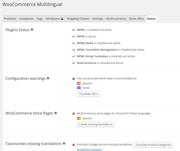 WooCommerce Multilingual settings page