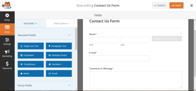 Creating a form with WPForms Lite