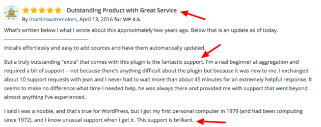 WP RSS Aggregator 5 star reviews
