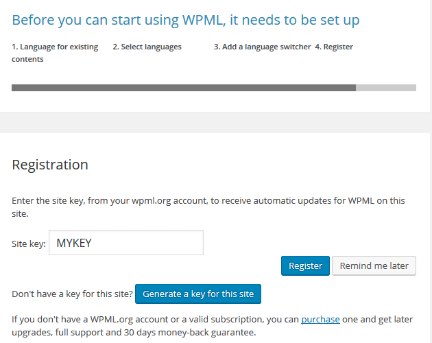 WPML - Register Your Website