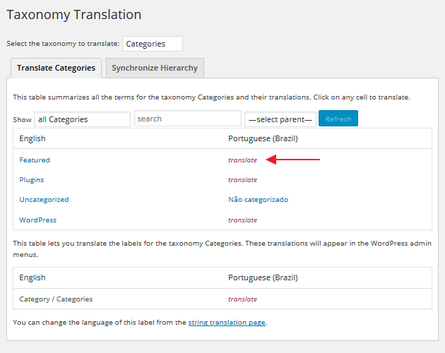 WPML - Translating Categories