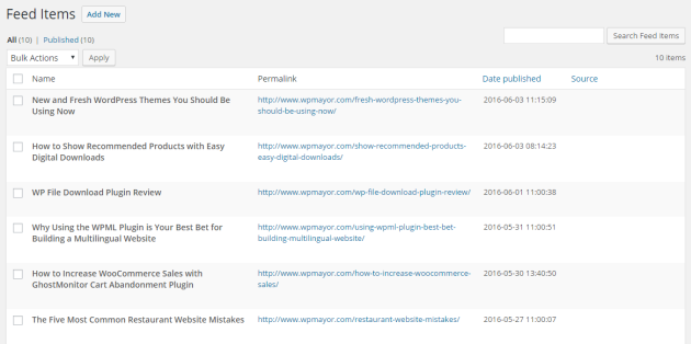 RSS Feed Items on new site.