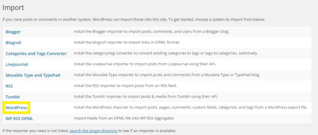 WordPress link on Import screen.