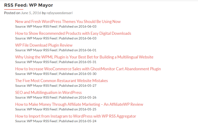 RSS feed preview.