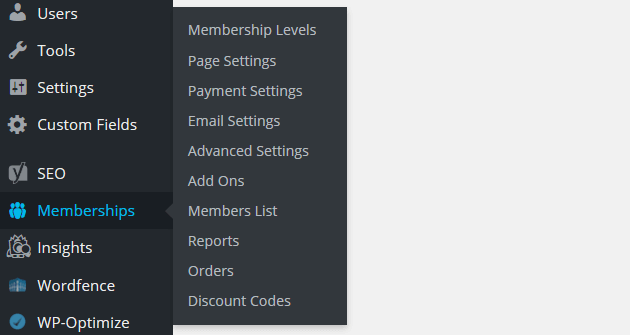 Paid Memberships Pro - Dashboard Menu Item