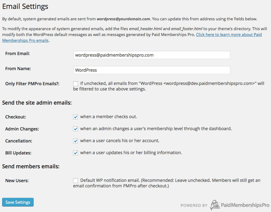 Paid Memberships Pro - Email Settings