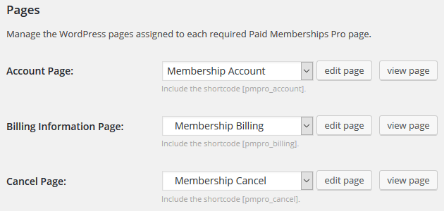Paid Memberships Pro - Page Settings