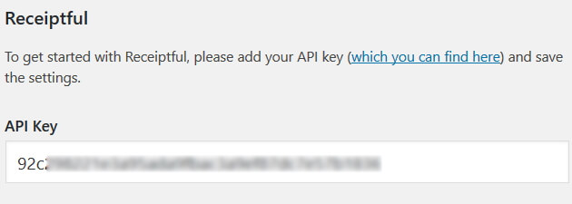 Receiptful - API Key Settings