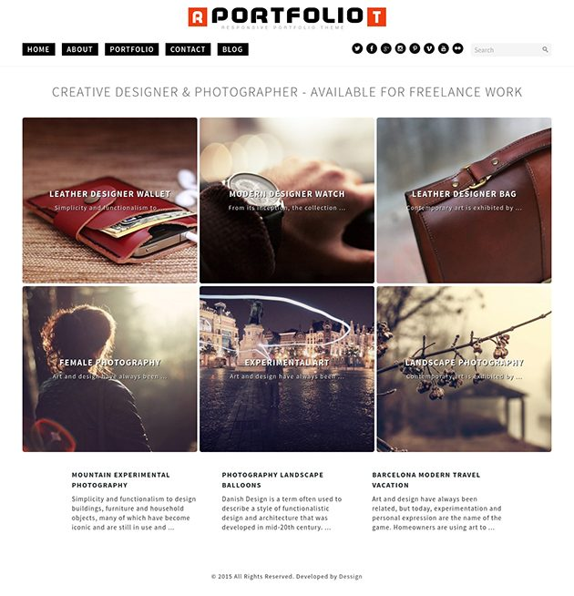 Portfolio responsive WordPress theme