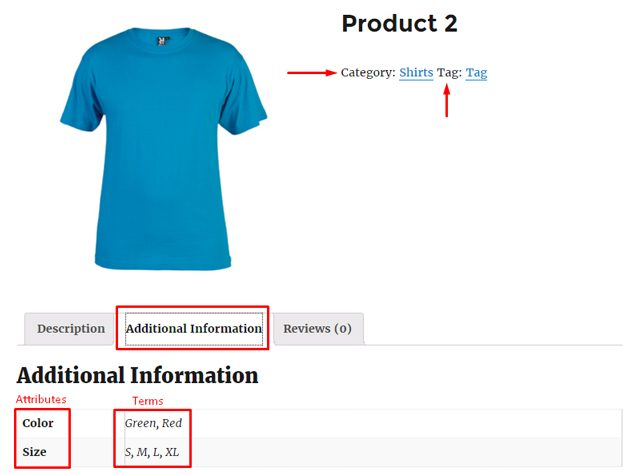 displaying categories tags attributes in woocommerce