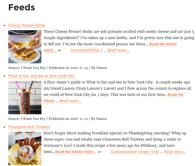 Feeds page