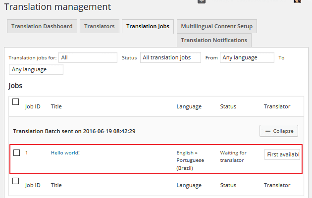 WPML - Translation Jobs