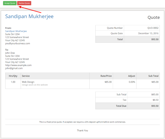 Quote Sample Sliced Invoices