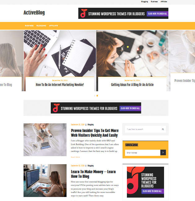 ActiveBlog- Ad-Space WordPress Themes