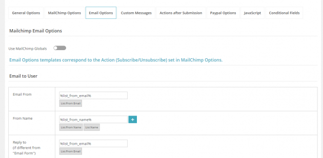 MailChimp WD email options