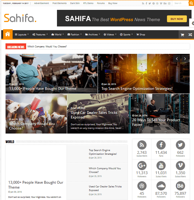 Sahifa - Ad-Space WordPress Themes