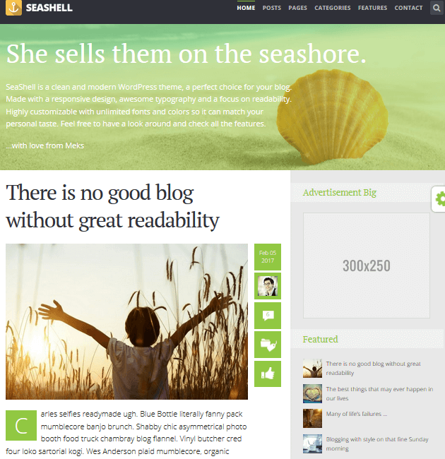 SeaShell - Ad-Space WordPress Themes