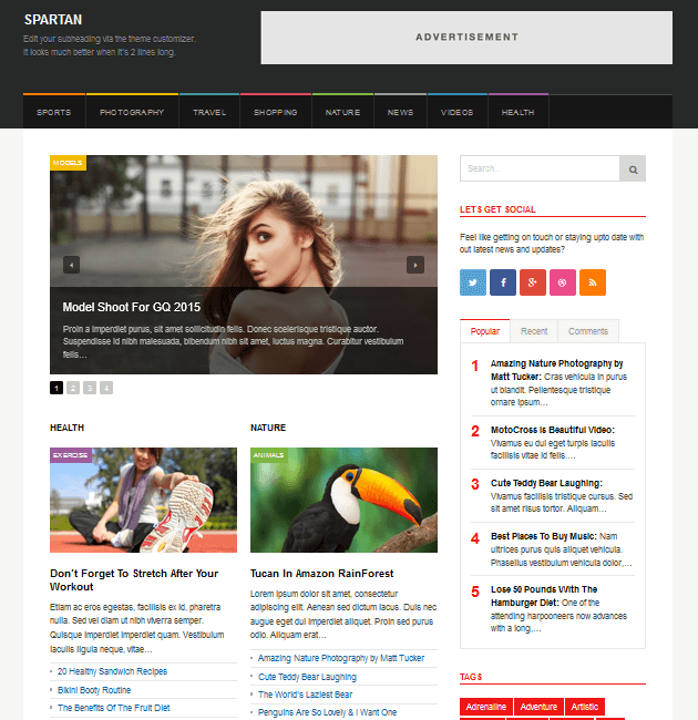 Spartan Magazine - Ad-Space WordPress Themes
