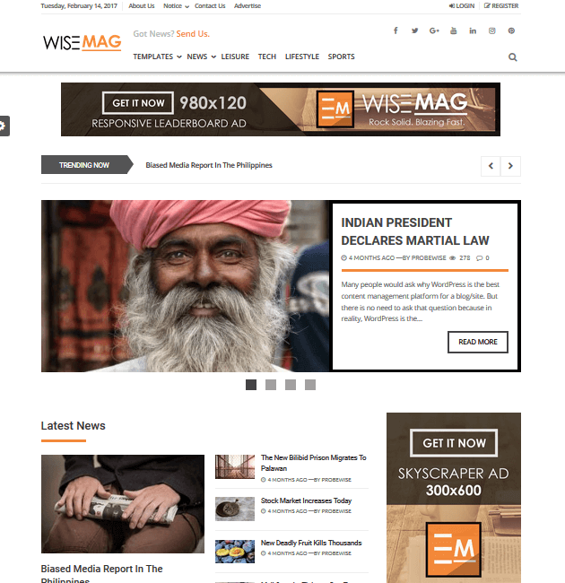 Wise Mag - Ad-Space WordPress Themes