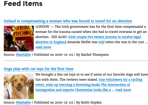 WP RSS Aggregator - Excerpts & Thumbnails Example