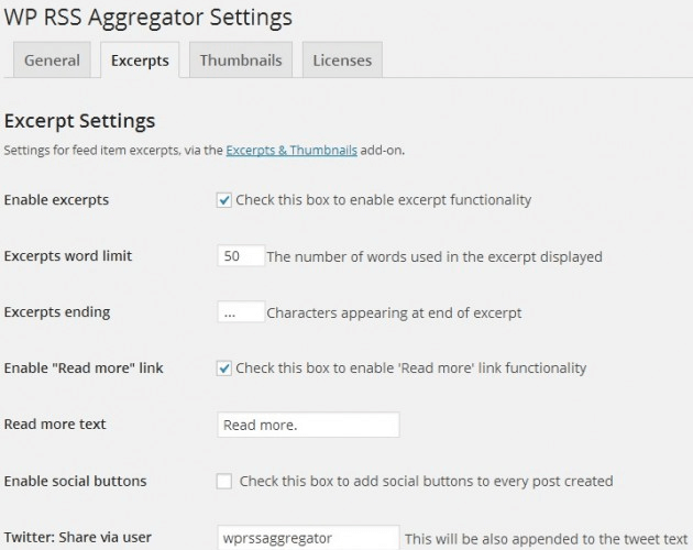 WP RSS Aggregator - Excerpts & Thumbnails, Excerpts Settings