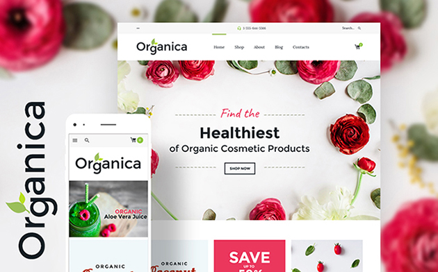organic food, cosmetics and bio active nutrition Woocommerce theme