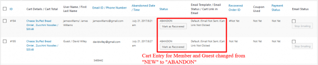 WooCommerce Recover Abandoned Cart - Cart New To Abandoned