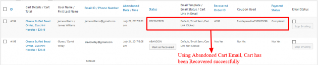 WooCommerce Recover Abandoned Cart - Cart Recovered