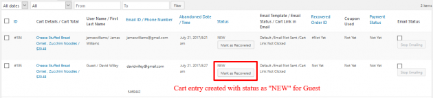 WooCommerce Recover Abandoned Cart - Guest Cart Captured