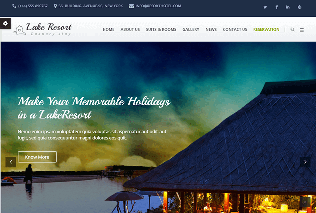 Lake Resort WordPress Theme