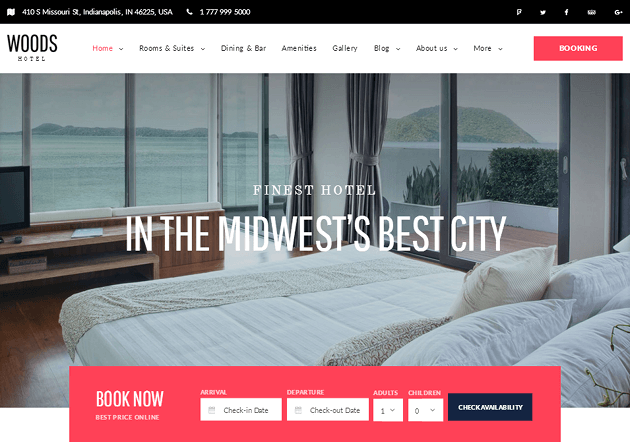 Woods Hotel WordPress Theme