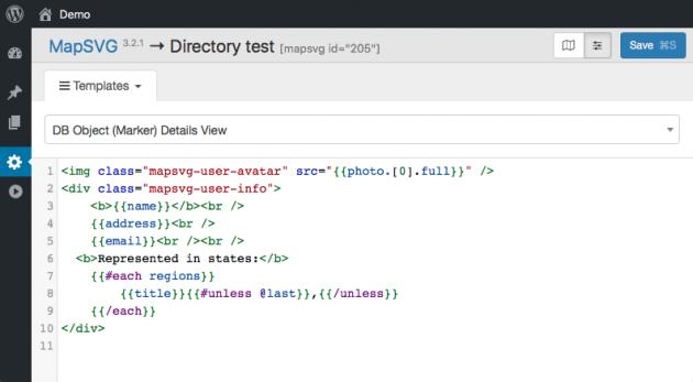 WordPress interactive map - templates editor