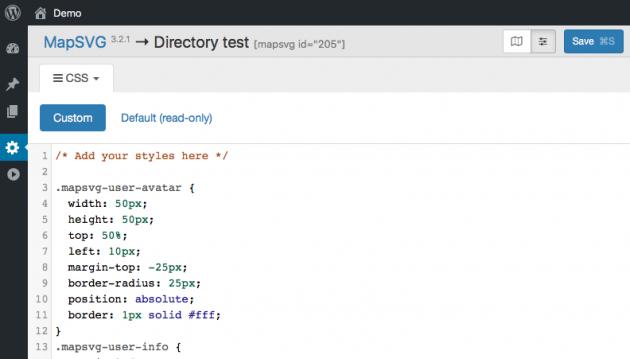 WordPress interactive map - CSS editor