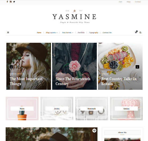 Feminine WordPress Themes - Yasmine