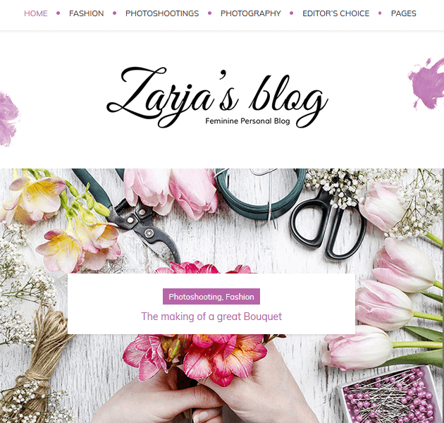 Feminine WordPress Themes - Zarja Blog