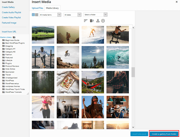WP Media Folder - Create a Gallery