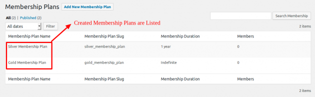 SUMO Memberhips - Created Plan List