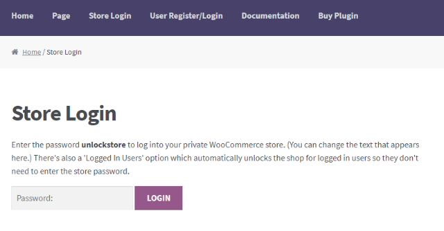 example of a private woocommerce store
