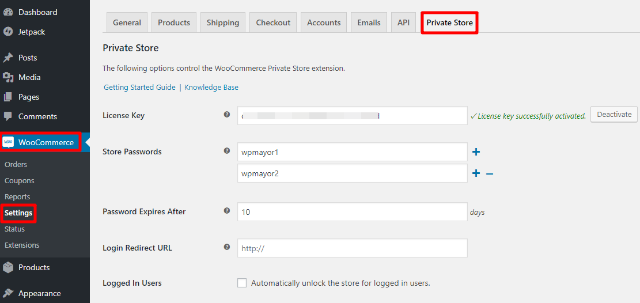 woocommerce private store settings