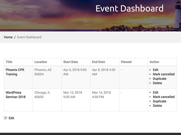 WP Event Manager Event Dashboard