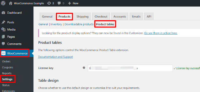 Configure WooCommerce Product Table