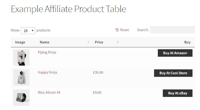 example of table of affiliate products