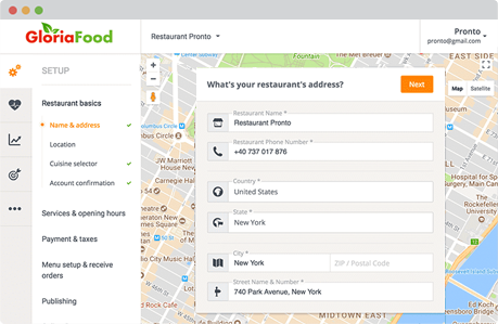 restaurant ordering system by gloriafood